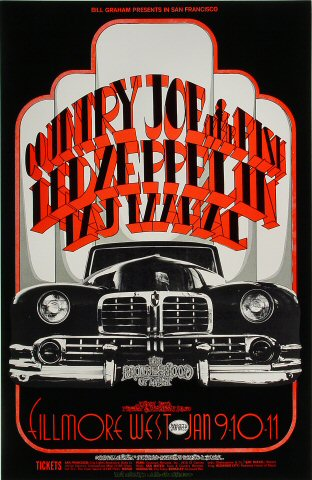 Led Zeppelin Poster From Fillmore West Jan 9 1969 At