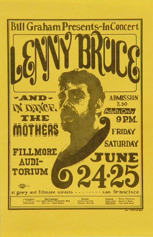 lenny bruce vintage concert handbill from fillmore auditorium jun