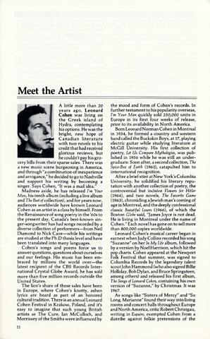Leonard Cohen Program reverse side