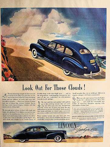 Lincoln Zephyr V-12: Look Out For Those Clouds! Vintage Ad
