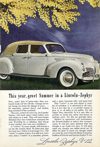 Lincoln Zephyr V-12:This Year, Greet Summer In A... Vintage Ad