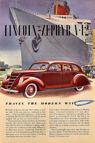 Lincoln Zephyr V-12: Travel The Modern Way! Vintage Ad