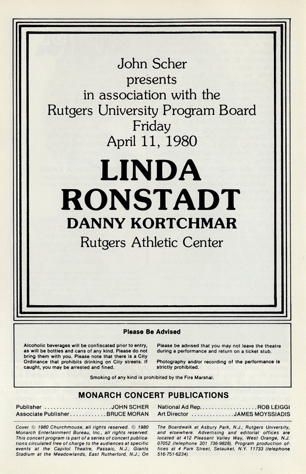 Linda Ronstadt Program reverse side