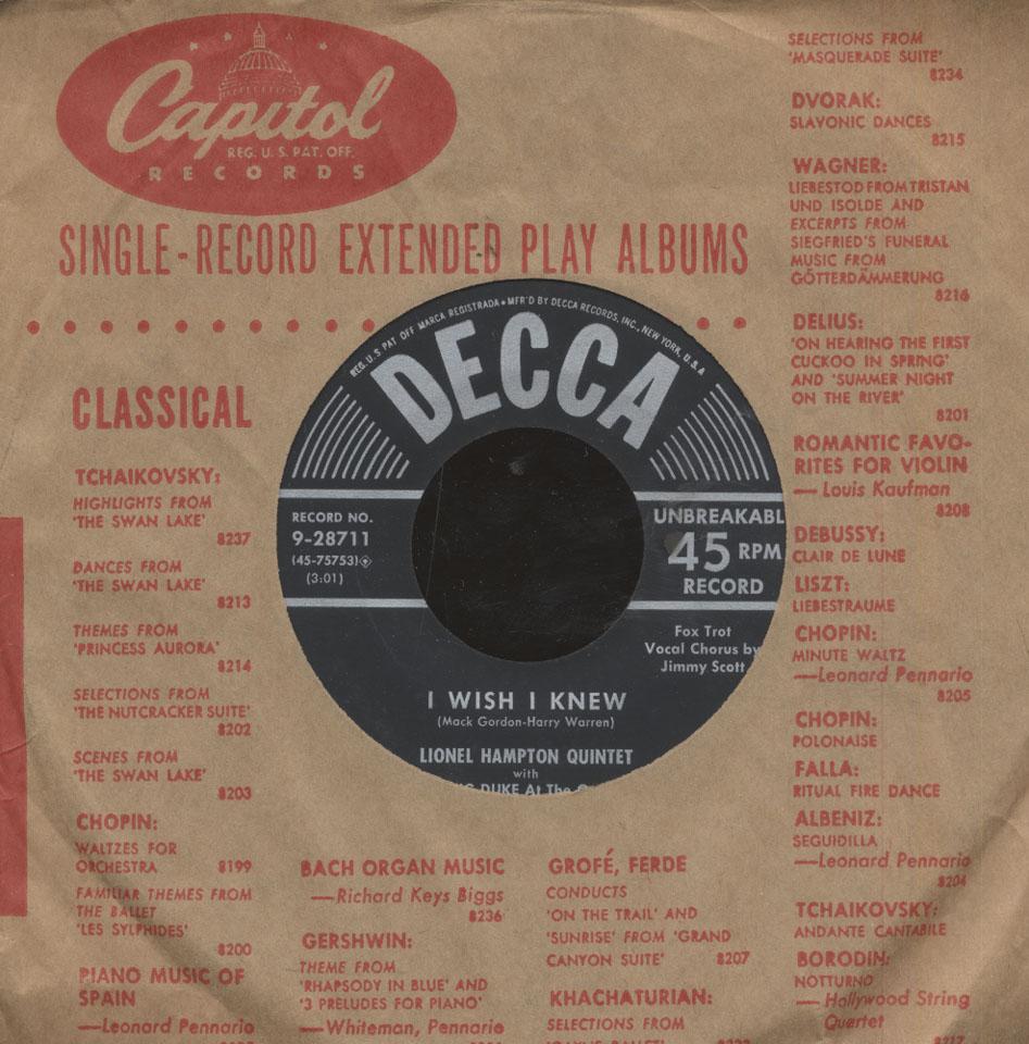 """Lionel Hampton & His Orchestra Vinyl 7"""" (Used)"""