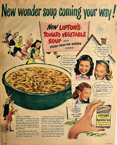 Lipton's: New Wonder Soup Coming Your Way! Vintage Ad