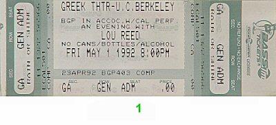 Lou Reed Vintage Ticket