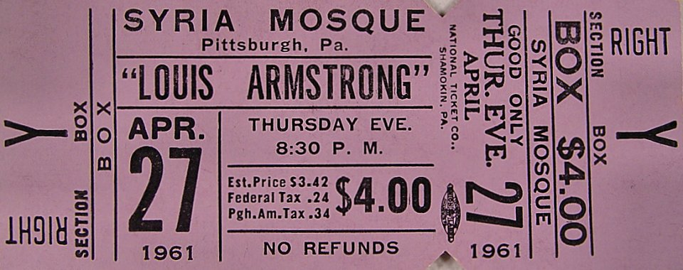 Louis Armstrong Vintage Ticket