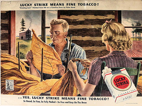 Lucky Strike Cigarettes: ...Yes, Lucky Strike Means Fine Tobacco! Vintage Ad
