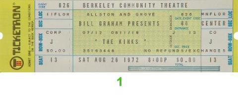 The Kinks Vintage Ticket