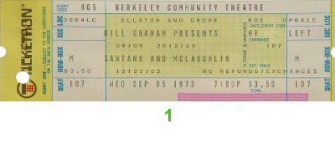 Santana and McLaughlin Vintage Ticket