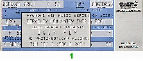 Iggy Pop Vintage Ticket