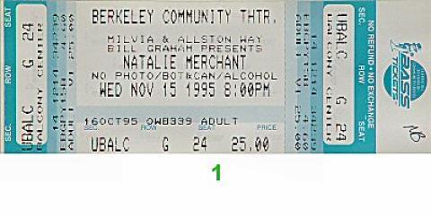 Natalie Merchant Vintage Ticket