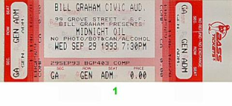 Midnight Oil Vintage Ticket