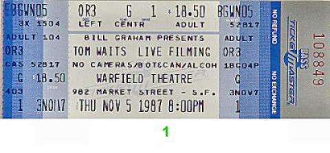 Tom Waits Vintage Ticket