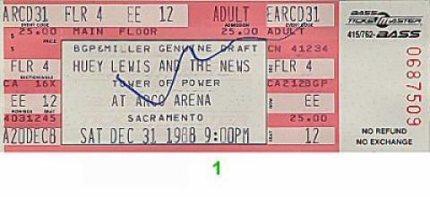 Huey Lewis & the News Vintage Ticket