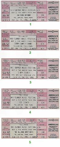 Telluride Mid-Summer Music Festival Vintage Ticket