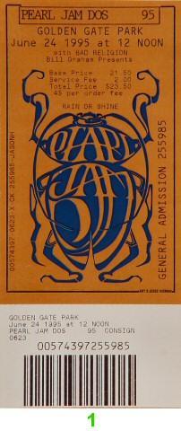 Pearl Jam Vintage Ticket