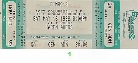 Karen Akers Vintage Ticket