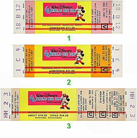 Walt Disney's World on Ice Vintage Ticket