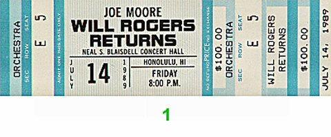 Joe Moore Vintage Ticket