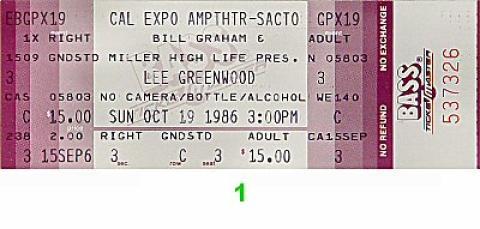 Lee Greenwood Vintage Ticket