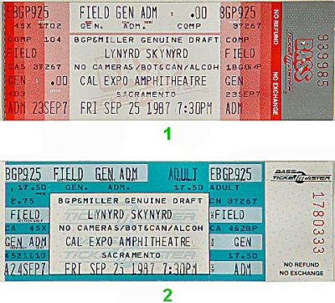 lynyrd skynyrd vintage concert vintage ticket from cal expo amphitheater sep 25 1987 at wolfgang 39 s. Black Bedroom Furniture Sets. Home Design Ideas