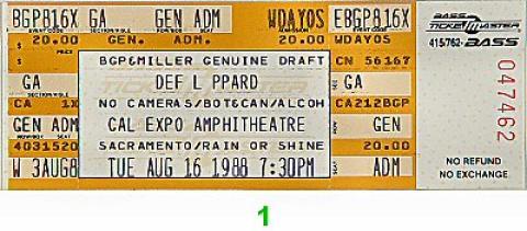 Def Leppard Vintage Ticket
