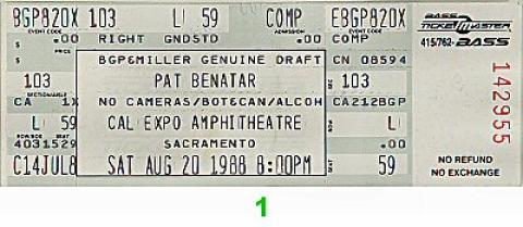 Pat Benatar Vintage Ticket
