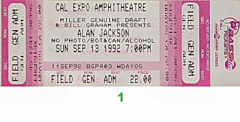 Alan Jackson Vintage Ticket