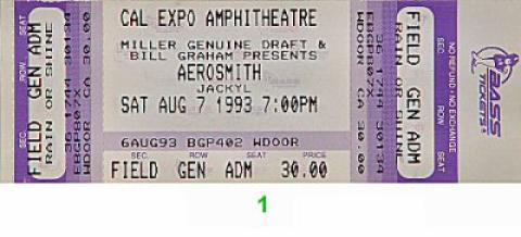 Aerosmith Vintage Ticket
