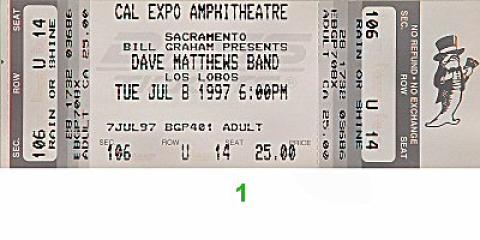 Dave Matthews Band Vintage Ticket