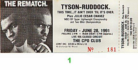 Mike Tyson Vintage Ticket
