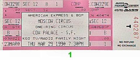 The Moscow Circus Vintage Ticket