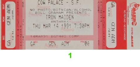 Iron Maiden Vintage Ticket