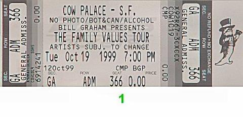Limp Bizkit Vintage Ticket