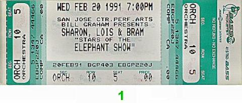 Sharon, Lois and Bram Vintage Ticket
