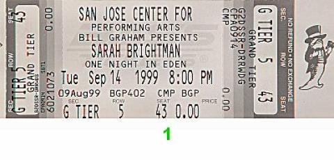 Sarah Brightman Vintage Ticket