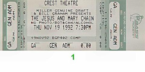 The Jesus & Mary Chain Vintage Ticket