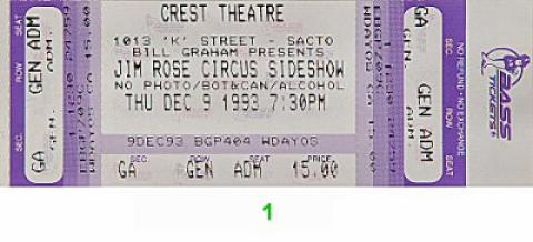 Jim Rose Circus Side Show Vintage Ticket