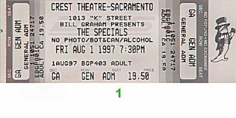 The Specials Vintage Ticket