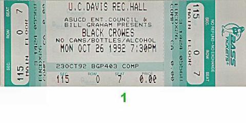 The Black Crowes Vintage Ticket
