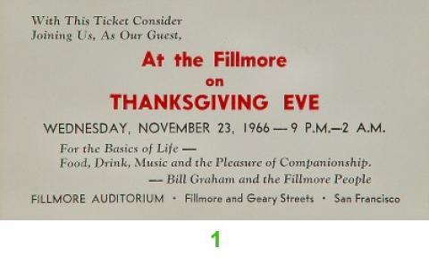 Bill Graham Vintage Ticket