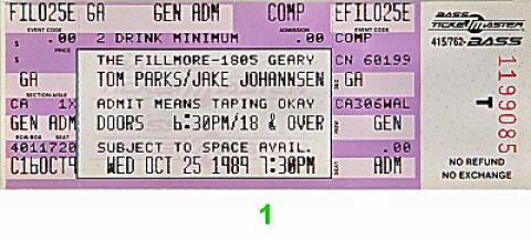Tom Parks Vintage Ticket