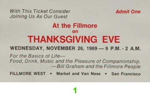 Thanksgiving Eve Vintage Ticket