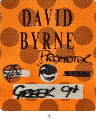 David Byrne Backstage Pass