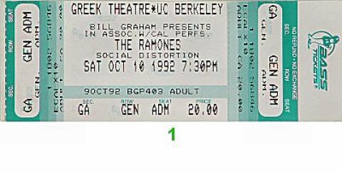 The Ramones Vintage Ticket