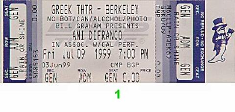 Ani DiFranco Vintage Ticket