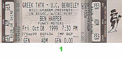 Ben Harper Vintage Ticket
