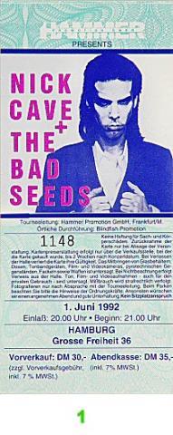 Nick Cave & the Bad Seeds Vintage Ticket