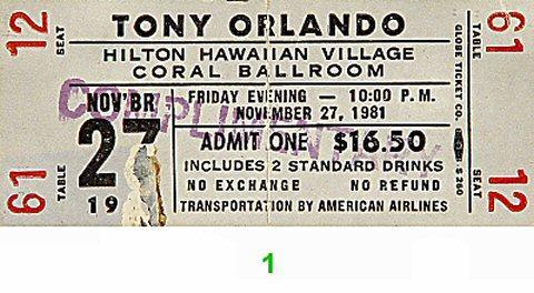 Tony Orlando Vintage Ticket
